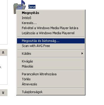 Mappa helyi menüje Windows XP alatt