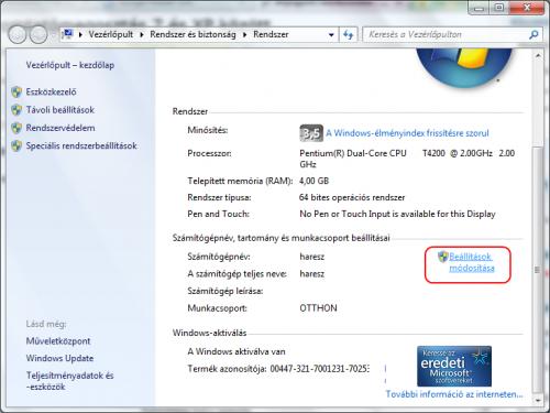 Rendszer ablak Windows 7 alatt