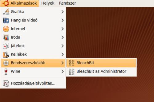 Alkalmazások, Rendszereszközök menü, benne a BleachBit programmal