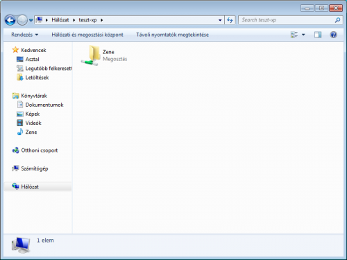 XP alatt megosztott mappa Windows 7-ben