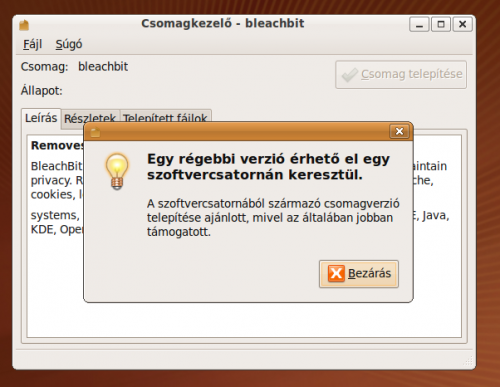 BleachBit telepítése gdebivel, Ubuntu alatt