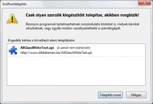 Firefox bővítmény telepítés