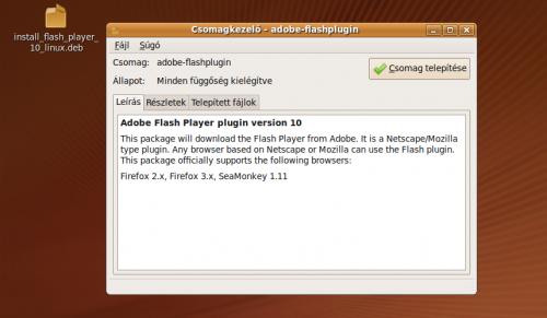 Adobe Flash plugin csomag telepítése