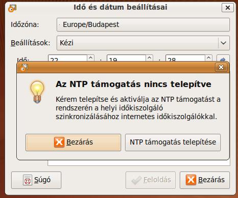 Az NTP támogatás nincs telepítve
