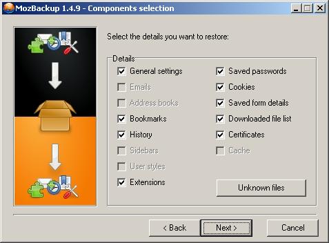 Visszaállítandó komponensek kiválasztása