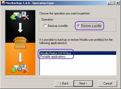 Profil helyreállítása Firefoxhoz