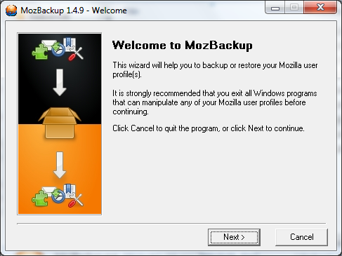 MozBackup üdvözlése