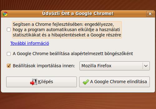 Google Chrome üdvözlés