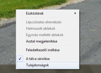Windows 7 Tálca helyi menüje
