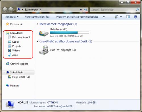 Windows 7 szamítogép, benne a Könyvtárakkal