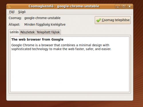 google-chrome-unstable telepítése