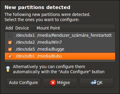 Felismert NTFS partíciók
