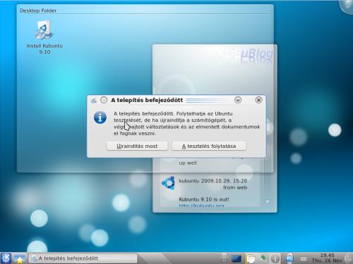 Kész a Kubuntu telepítése