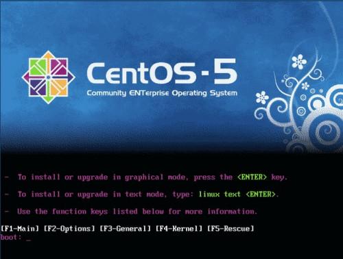 CentOs boot képernyő