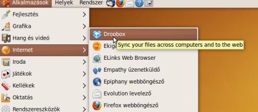 Dropbox az alkalmazások listájában