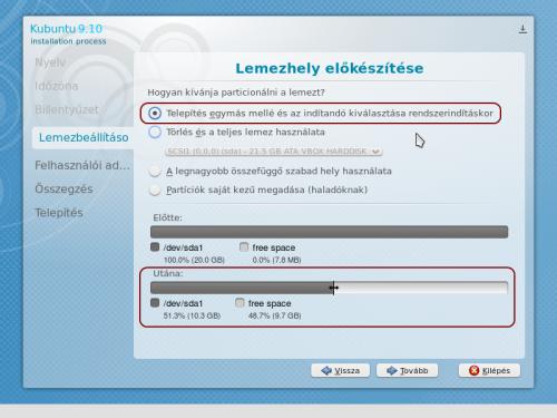 Lemezhely előkészítése Windows mellé telepítés esetén